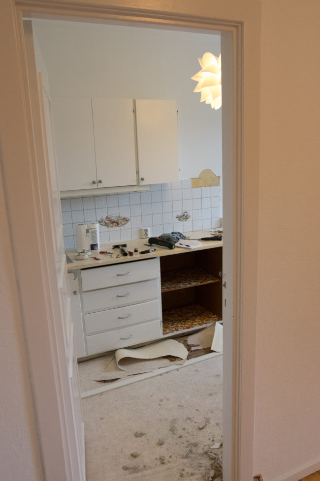This is what the kitchen looked like when he started.