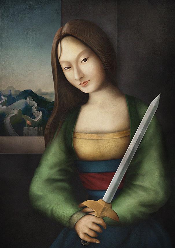 10位「迪士尼公主穿越時空回到文藝復興時代」的盛裝模樣,來自中國的花木蘭是裡面最美的!
