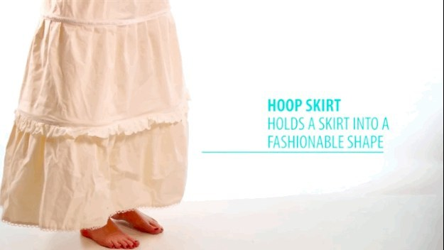 They also wore hoop skirts, which waxed and waned in size, structure, and popularity until the early 20th century.