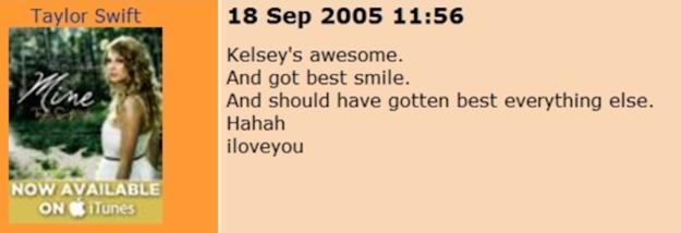 小天后泰勒絲的昔日網站被人翻出看到她在上面的留言,雖然F髒話不少但從那時就已經看出巨星光環了!