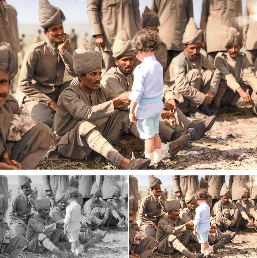 4. A French boy introducing himself to Indian Soldiers