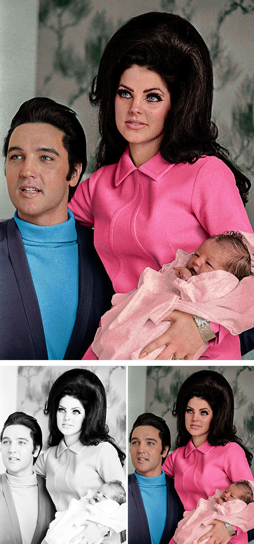 7. Elvis and Priscilla Presley with baby Lisa Marie
