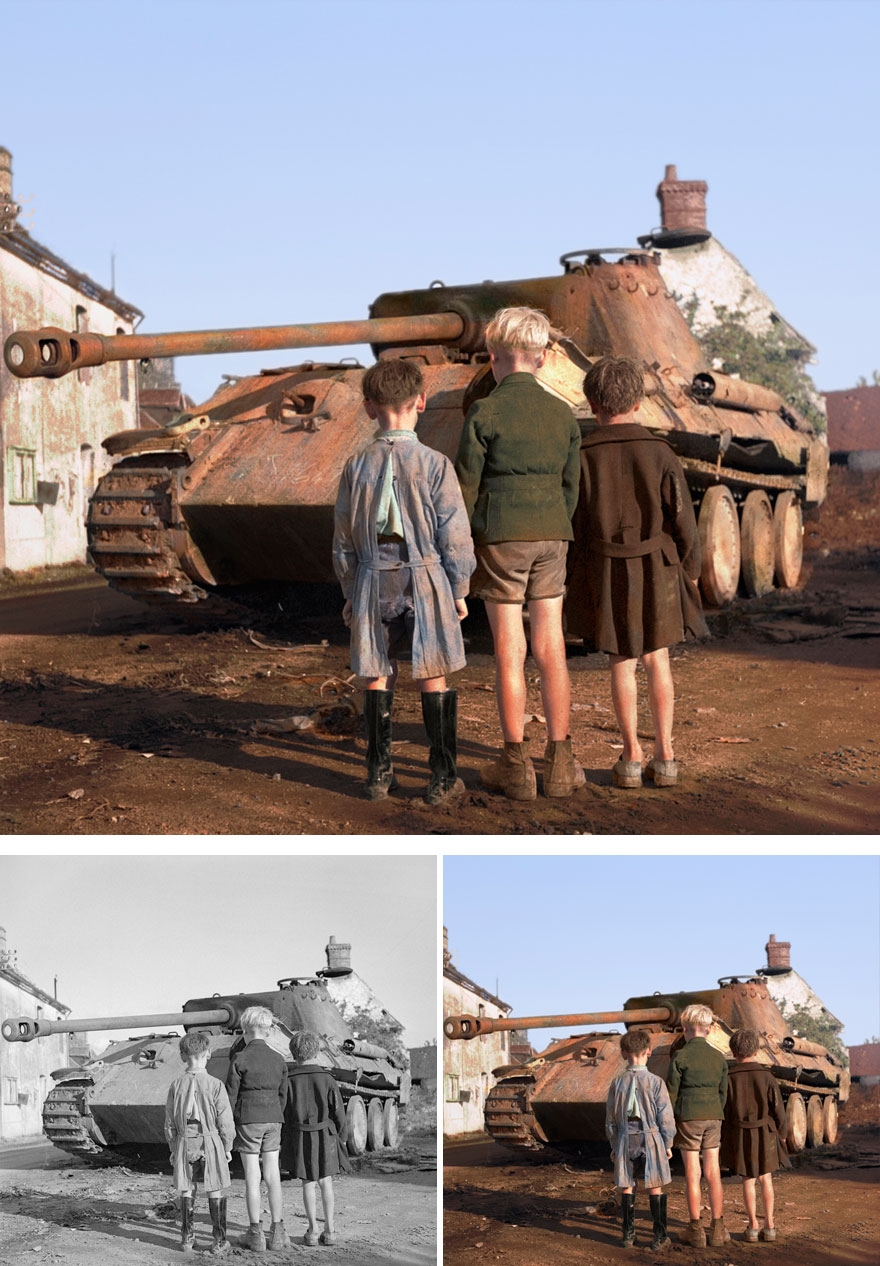 10. Three French Kids looking at a German tank
