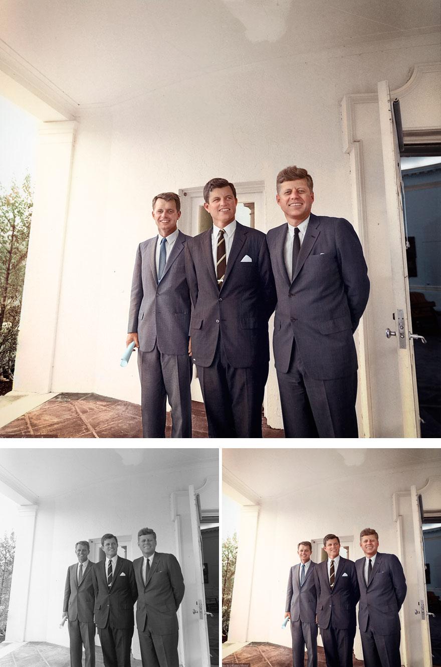 20. Brothers Robert, Edward and John F. Kennedy
