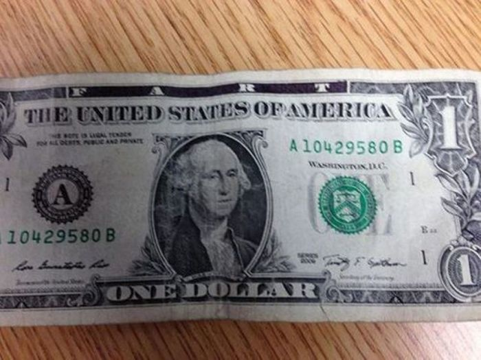 Based on the writing of 'fart' on this bill, we are confident it's a fake.