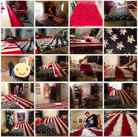 老師聽到他美國國旗做了50個小時還以為很爛,當一近看看到「4466個超猛細節」後快感動到哭了!