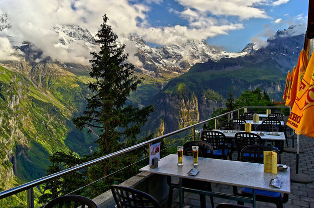 The view from this rooftop deck in Murren, Switzerland is unbeatable.