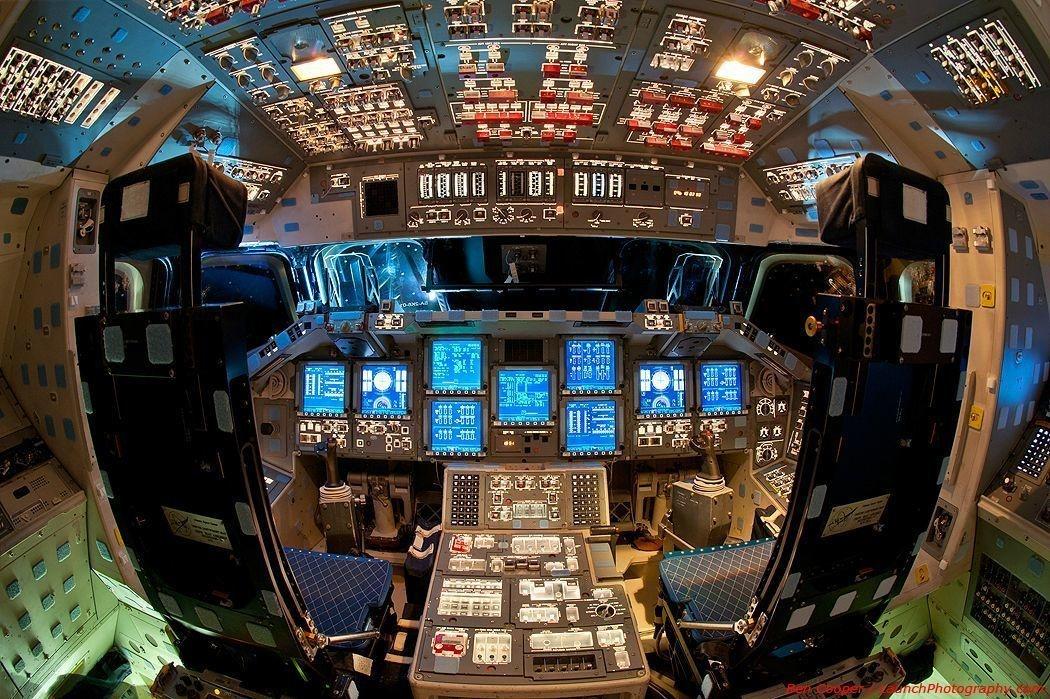 A view of space shuttle Endeavor's flight deck.