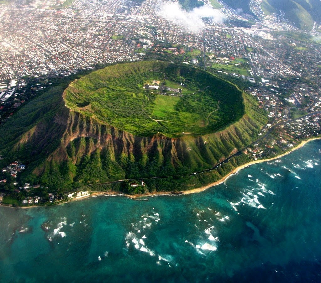 A view of the Diamond Head crater in Hawaii.