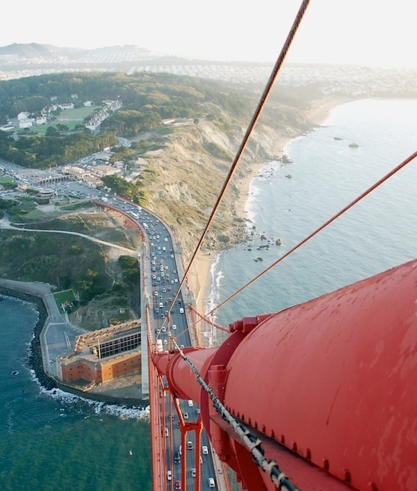 An incredible view from high on the Golden Gate Bridge.
