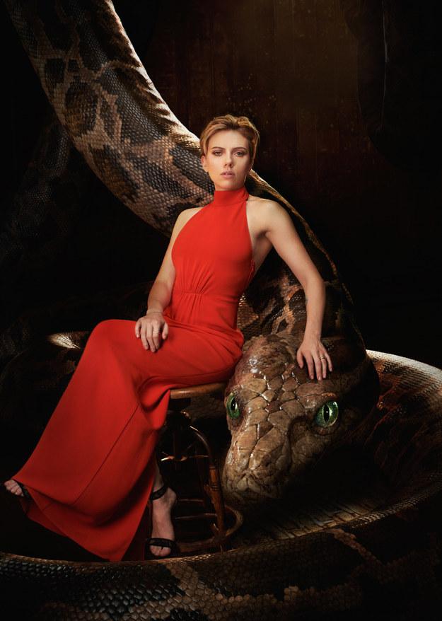 Scarlett Johansson voices the treacherous, hypnotic python Kaa.