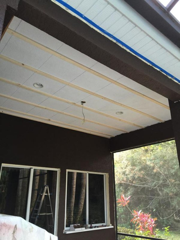 Prepping to install a western red cedar ceiling. First step was to strap the ceiling after identifying the rafters above.