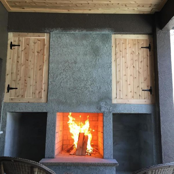 Doors complete. Testing the fireplace draw. Works great!