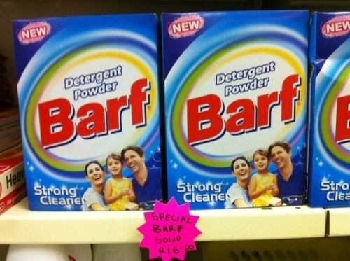 There's also a special barf soup to go with your barf detergent.