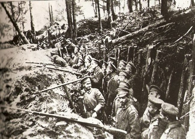 German trenches were built to last. They included beds, furniture, cupboards, electric lights, and even doorbells.