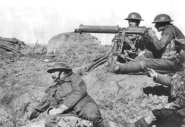Machine guns were introduced to the masses during WWI.