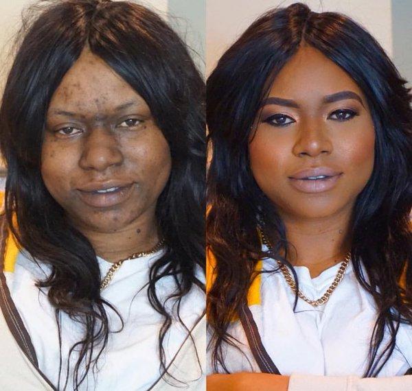 12張會讓你對人類失去所有信任的「超大落差神級化妝前後對比圖」。