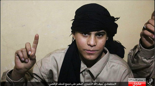 The bomber, who appears to be only a teenager, was named as Saifullah al-Ansari