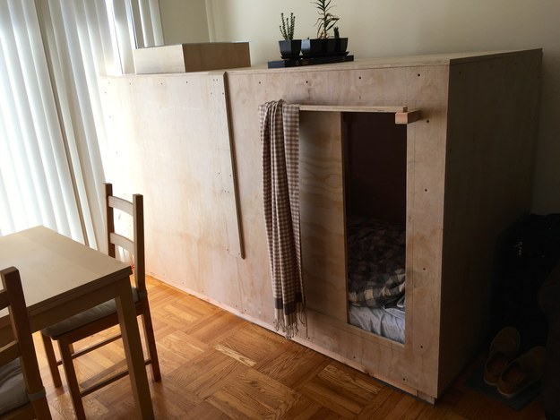 For the last three weeks, Berkowitz has been living out of this 8-foot box in his Sunset District apartment. He pays $400 a month in rent.