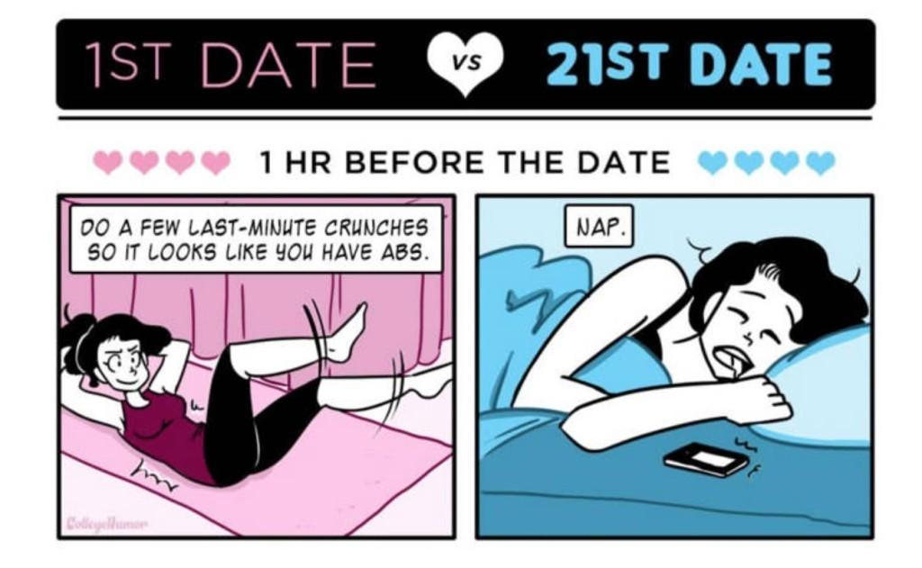 第1次約會跟第21次約會的超爆笑對比圖,男生一定看不懂這些內心大改變!