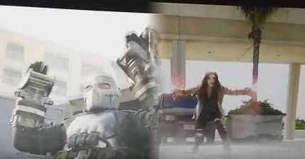 網友偷錄下1分鐘《美國隊長:英雄內戰》實際片段,看到獵鷹和緋紅女巫的聯手COMBO太帥了!(沒雷)