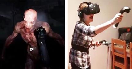 你以為玩「虛擬實境恐怖遊戲」時可以分清楚真假嗎?看到這女生發抖到快死的反應你才知道你以後的世界要大變了!