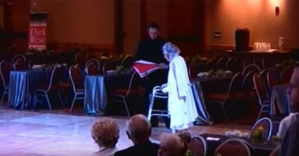 94歲老奶奶推著助行器進入跳舞比賽會場時,我以為她只是來湊熱鬧,沒想到音樂一下就發現我錯得太離譜了!