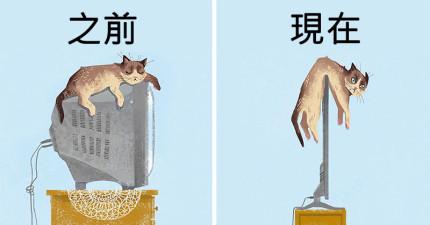 16張證明「貓咪以前比較幸福」對比圖 現在的生活「被科技限制」超不自由!
