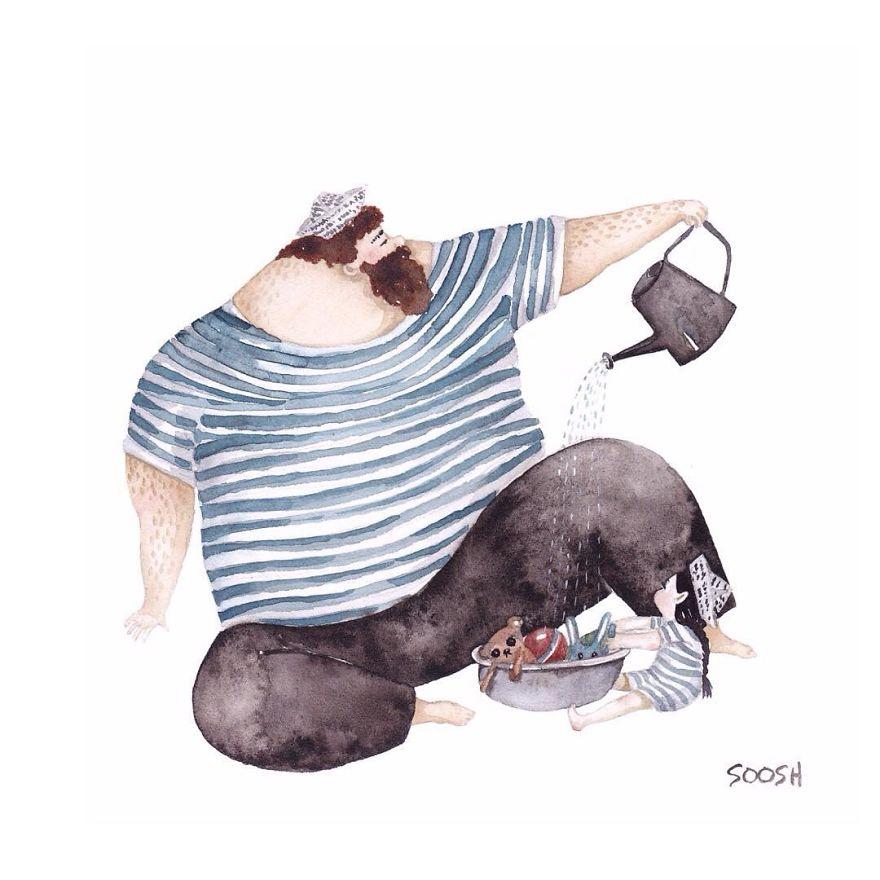 14張會讓你流淚的「父親和女兒相處水彩插畫」,證明沒有爸爸真的不行!