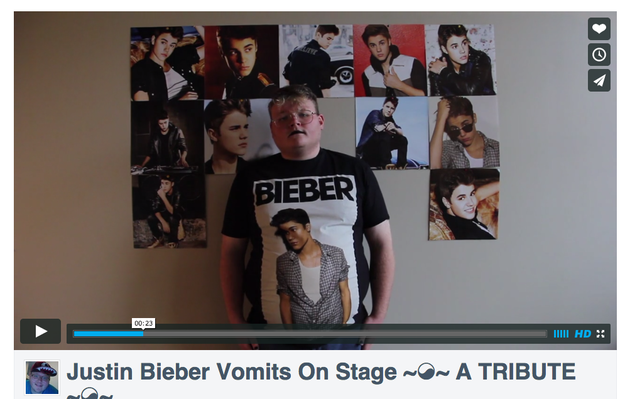 Kids today: He made a tribute about Justin Bieber's vomit.