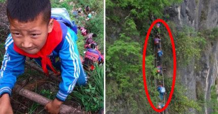 這群小孩「冒著隨時會摔死的危險」也要上到課,看完他們每天要爬的距離後才發現我們真的太不懂得珍惜了!