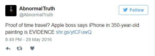 蘋果執行長提姆庫克發現「350年前名畫出現iPhone」,她手上拿的就是驚人「時光穿梭」證據?!