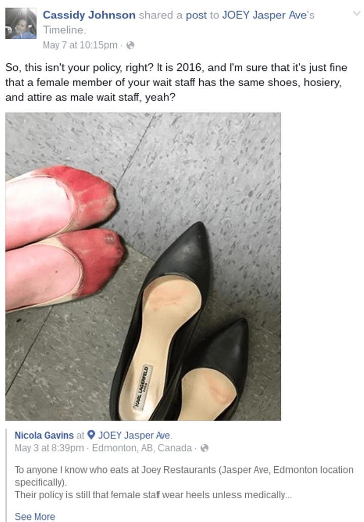 這名女服務生下班後脫下穿一整天的高跟鞋,網友一看照片都痛罵「老闆太不人道」揚言抵制餐廳!