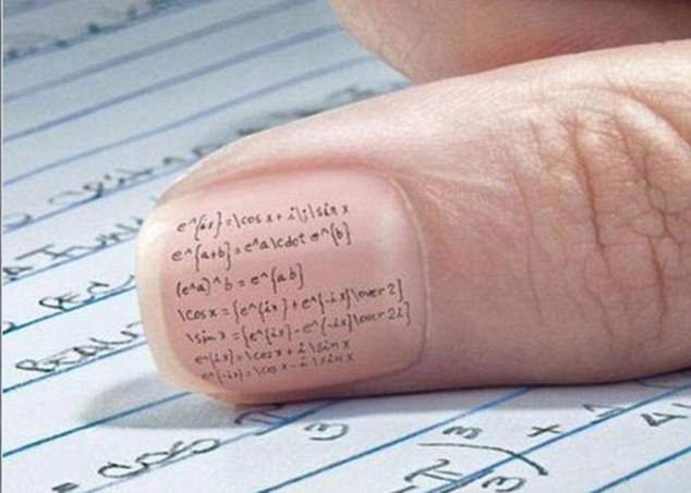 The answer's on the tip of my...thumb: this student put minute algebraic answers on their nail