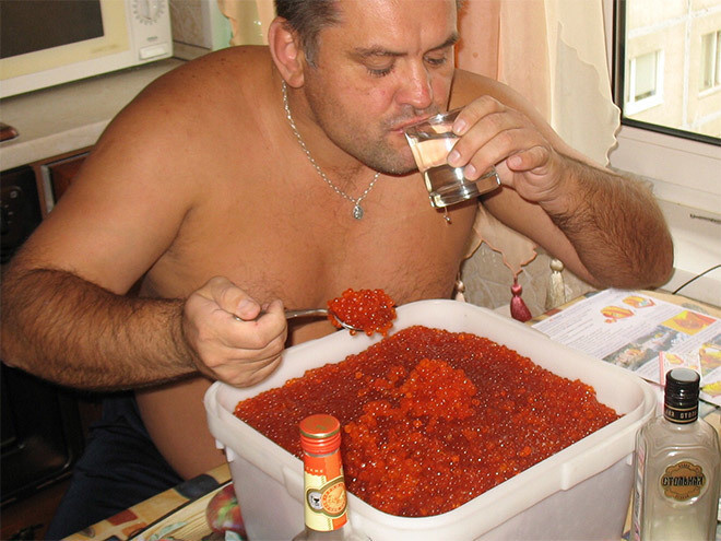 That's a lot of caviar for one man.