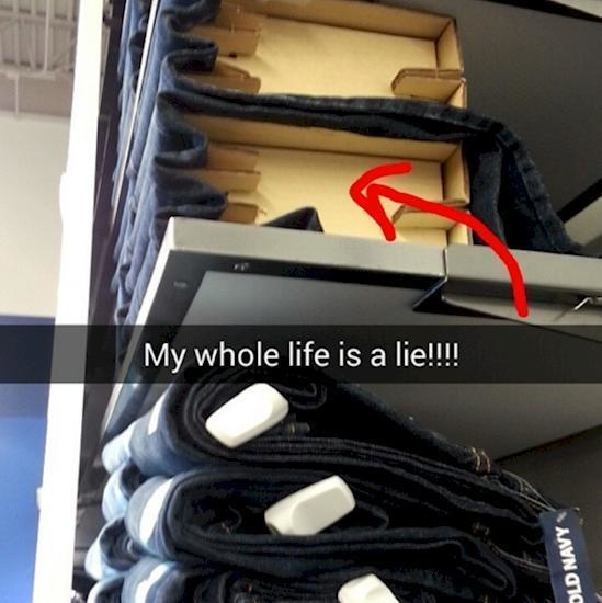 This is how stores keep clothing neat on the shelves.