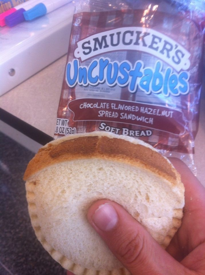 The unparalleled horror of having crust on your uncrustable.