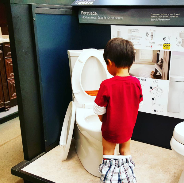 The parent whose kid peed in the demo toilet at Home Depot: