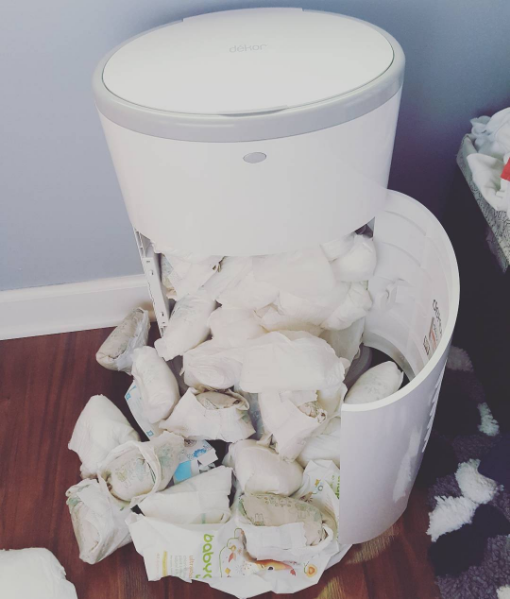 The parent who learned the hard way that they forgot to replace the bag in the diaper pail: