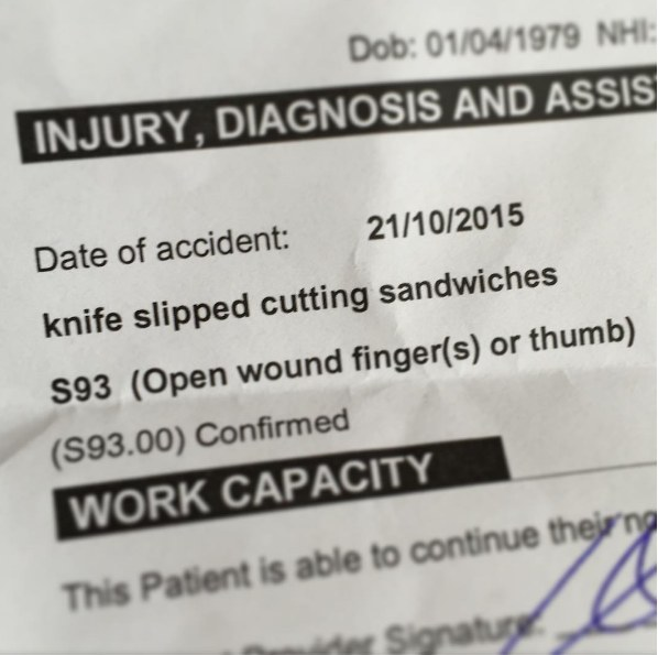The dad who suffered this injury in the line of parenting: