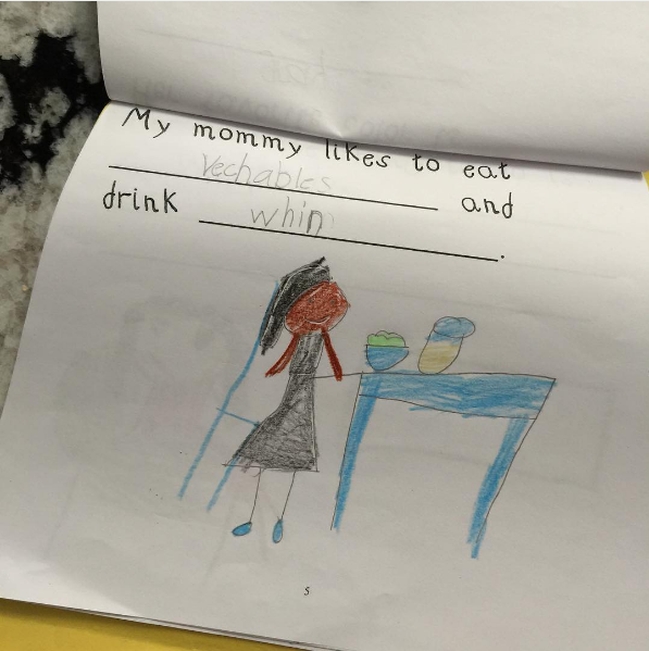 Also, the mom whose first-grader called her out on her wine consumption: