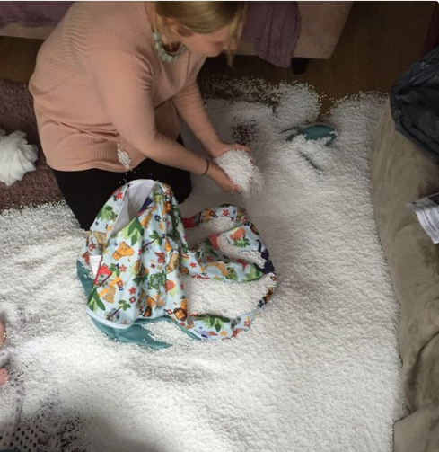 The parent whose kid opened the beanbag and made this mess: