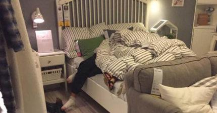 這對情侶在IKEA賣場試床,試著試著傳出「咿咿歐歐%%%」的聲音眾人才發現案情並不單純...