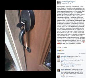 她開門就看到門上這樣綁了橡皮筋 其實一不小心她可能就悲劇了