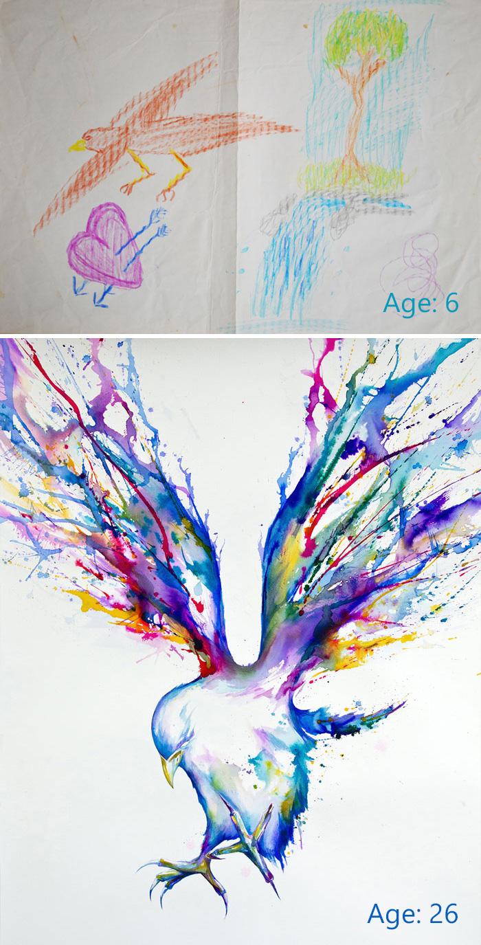 40張由學徒到出師的「以前跟現在畫畫作品比對」照 向你證明世界上是沒有天才的!
