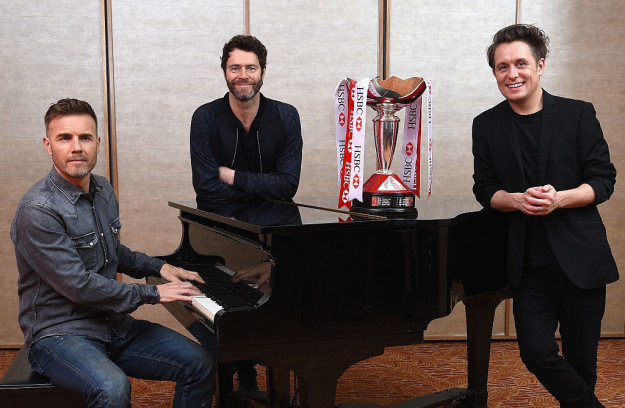 Gary Barlow, Howard Donald, and Mark Owen of Take That in 2016. They still perform as the band.