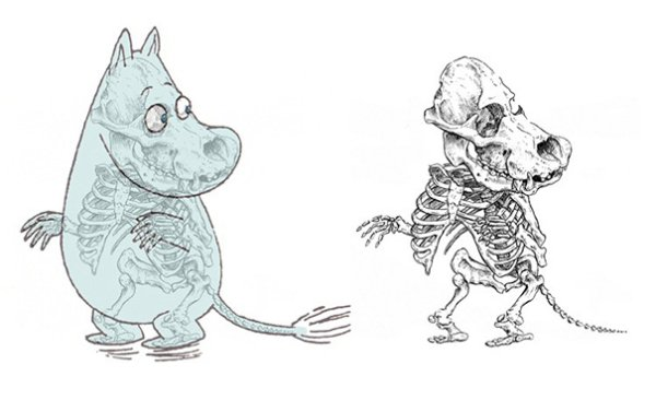 插畫家把「卡通人物的骨骼」真實呈現出來,可愛的皮卡丘剩下骨頭居然那麼驚悚!