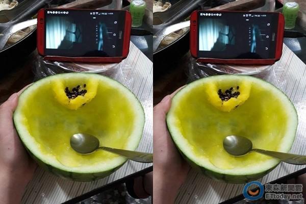 她吃西瓜的時候一直用很奇怪的方式挖,最後吃完我才發現這就是西瓜的隱藏配備!