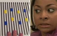 當她移動前面藍黃的格子時,注意看黃色的方塊...你以後會再也不相信自己的眼睛了!