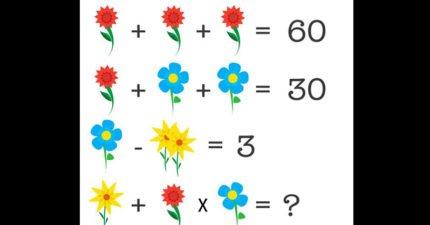 這可愛的小花數學題已經讓很多友情決裂、理科生都轉文科了,你能算出正確答案嗎?